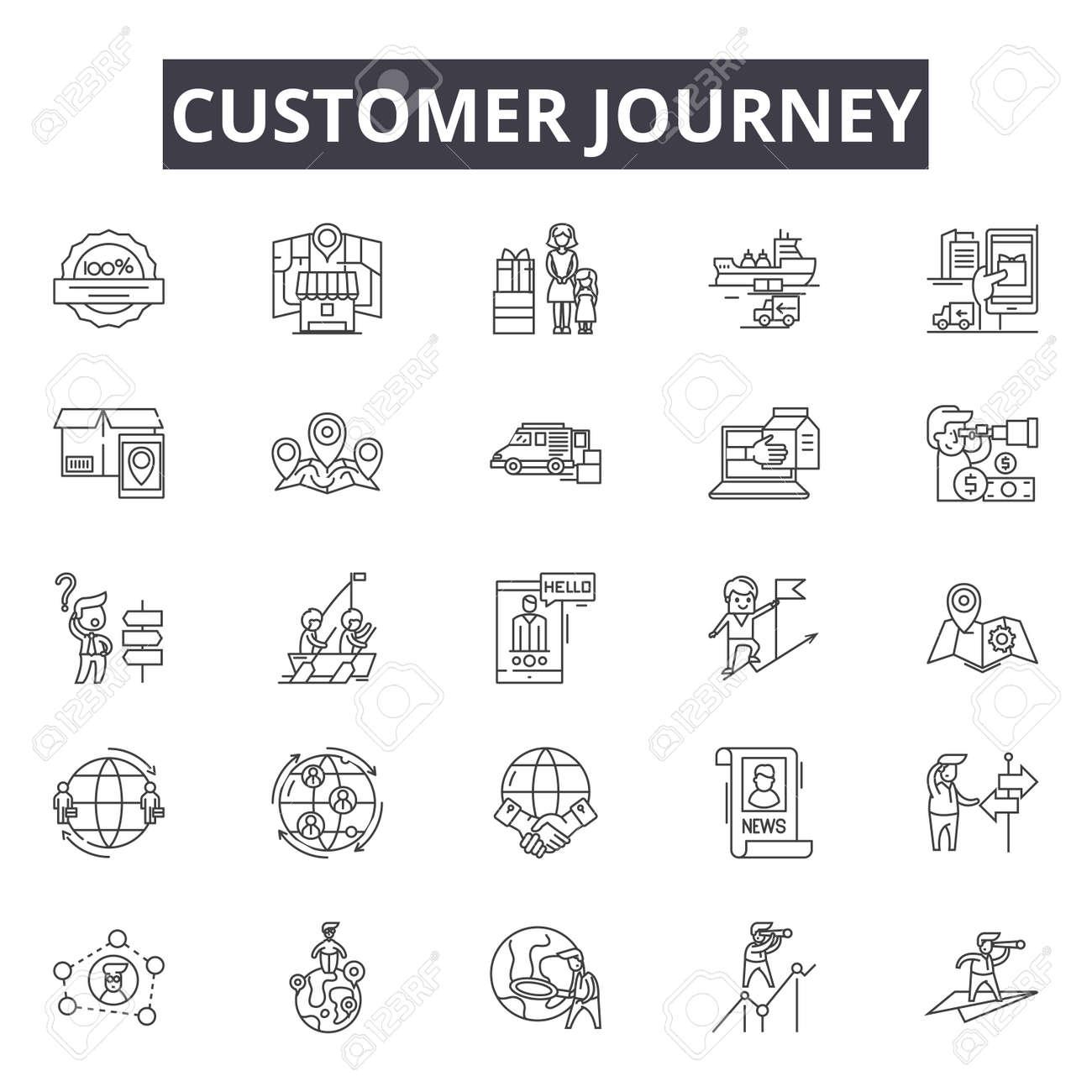 Customer journey line icons, signs set, vector. Customer journey outline concept illustration: journey,customer,business,marketing,concept,digital - 120894791