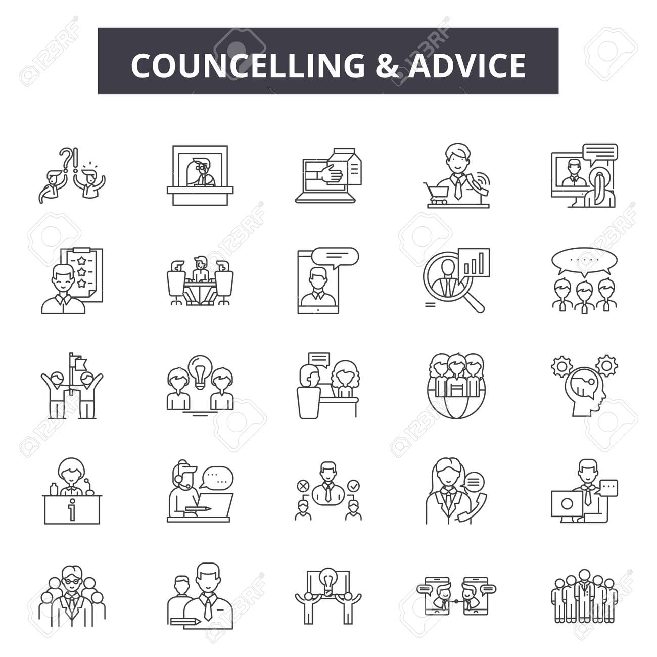 Councelling line icons, signs set, vector. Councelling outline concept illustration: man,people,councelling,person,couple,woman,hug - 120895045