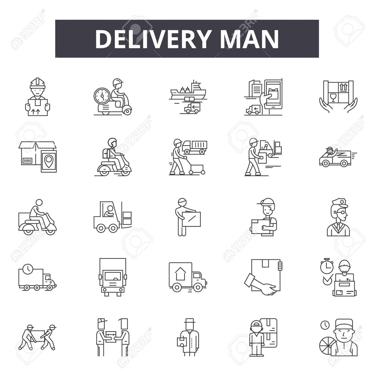 Delivery man line icons, signs set, vector. Delivery man outline concept illustration: man,delivery,service,box,courier,worker,package,job - 120895049