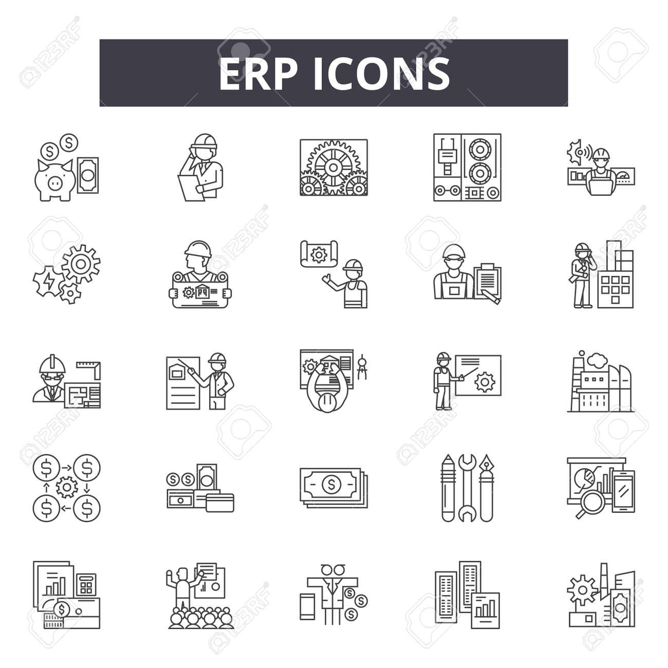 Erp line icons, signs set, vector. Erp outline concept illustration: business,erp,data,service,success,software,sales,information - 123582004
