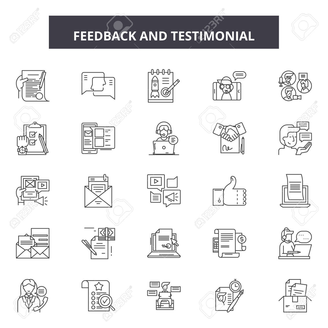 Feedback testimonial line icons, signs set, vector. Feedback testimonial outline concept illustration: feedback,opinion,comment,business,web,concept,symbol - 120895779