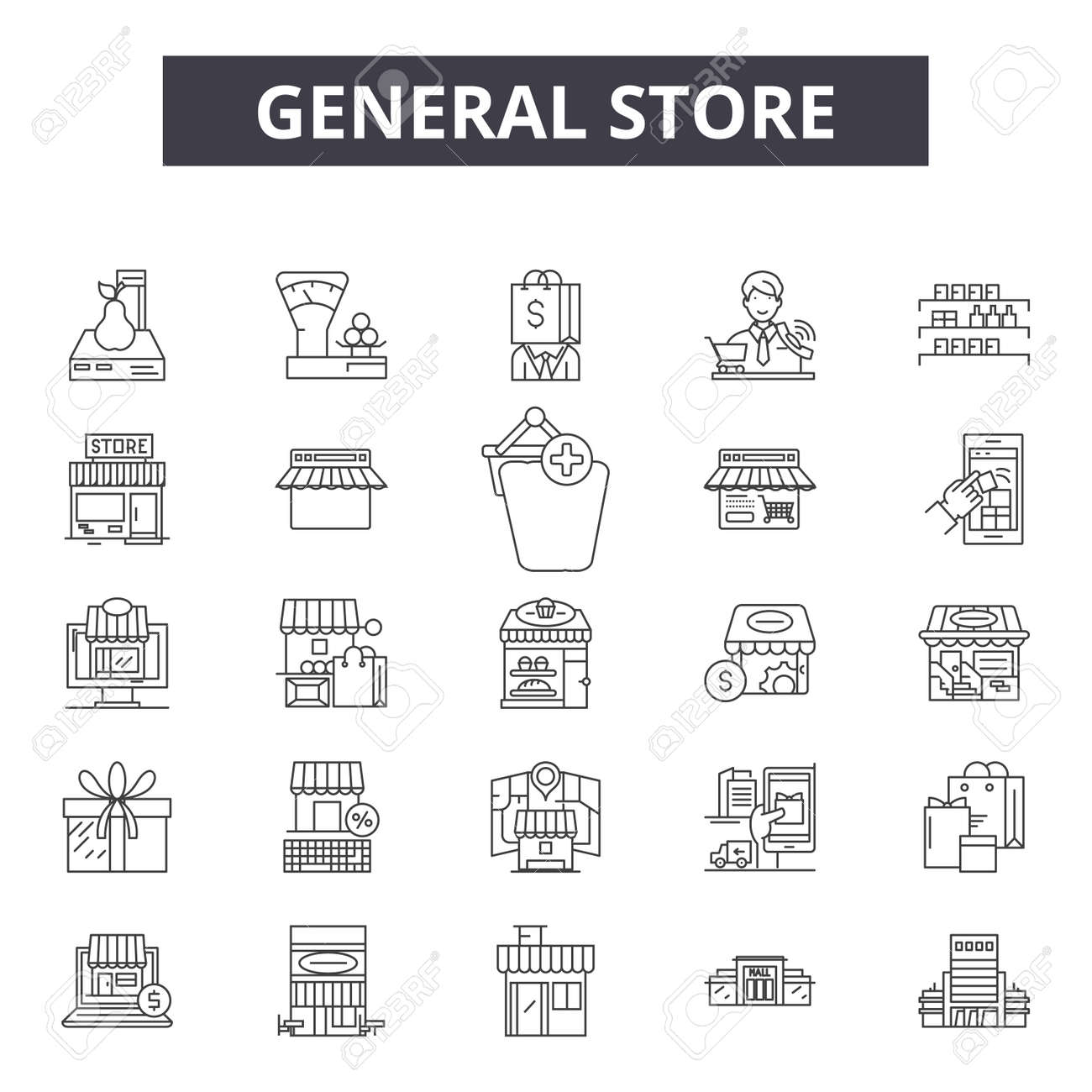 General store line icons, signs set, vector. General store outline concept illustration: store,shop,general,retail,business,web - 120895902