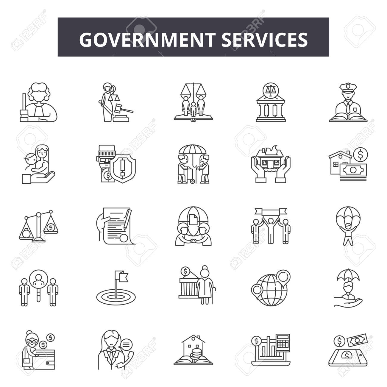 Government services line icons, signs set, vector. Government services outline concept illustration: government,service,business,education,administration,money - 123582071
