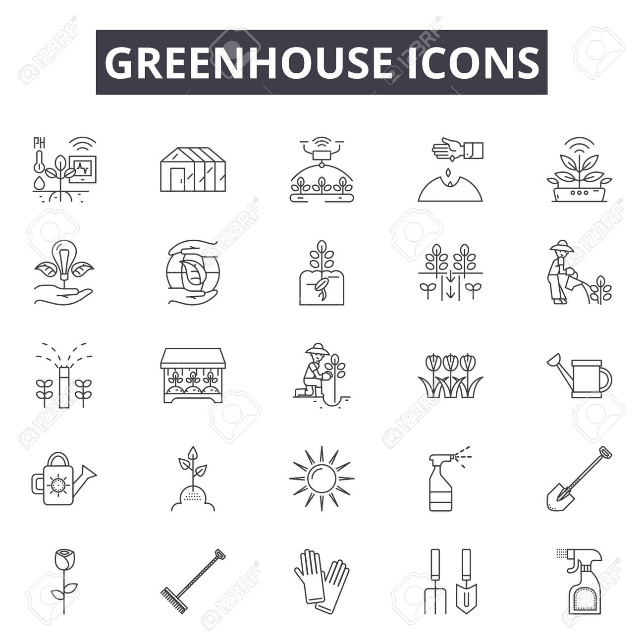 Greenhouse line icons, signs set, vector. Greenhouse outline concept illustration: greenhouse,plant,garden,organic,nature - 120896169