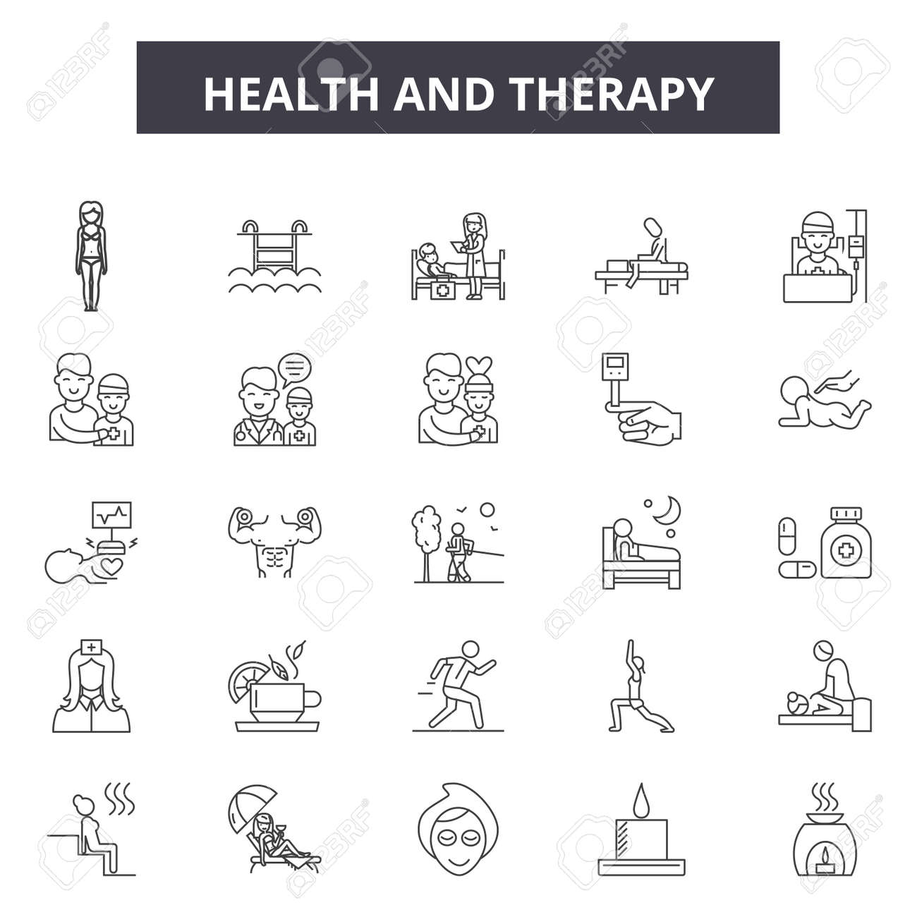 Health and therapy line icons, signs set, vector. Health and therapy outline concept illustration: health,therapy,medical,medicine,man,care,symbol - 120896541