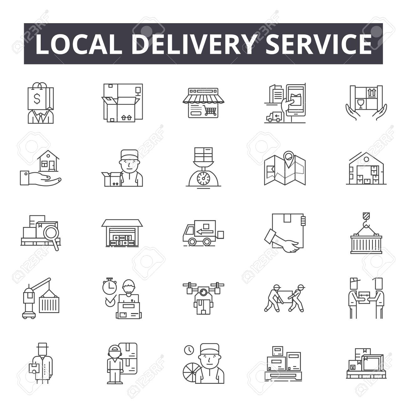 Local delivery service line icons, signs set, vector. Local delivery service outline concept illustration: service,delivery,business,local,courier,defast,online - 120896632