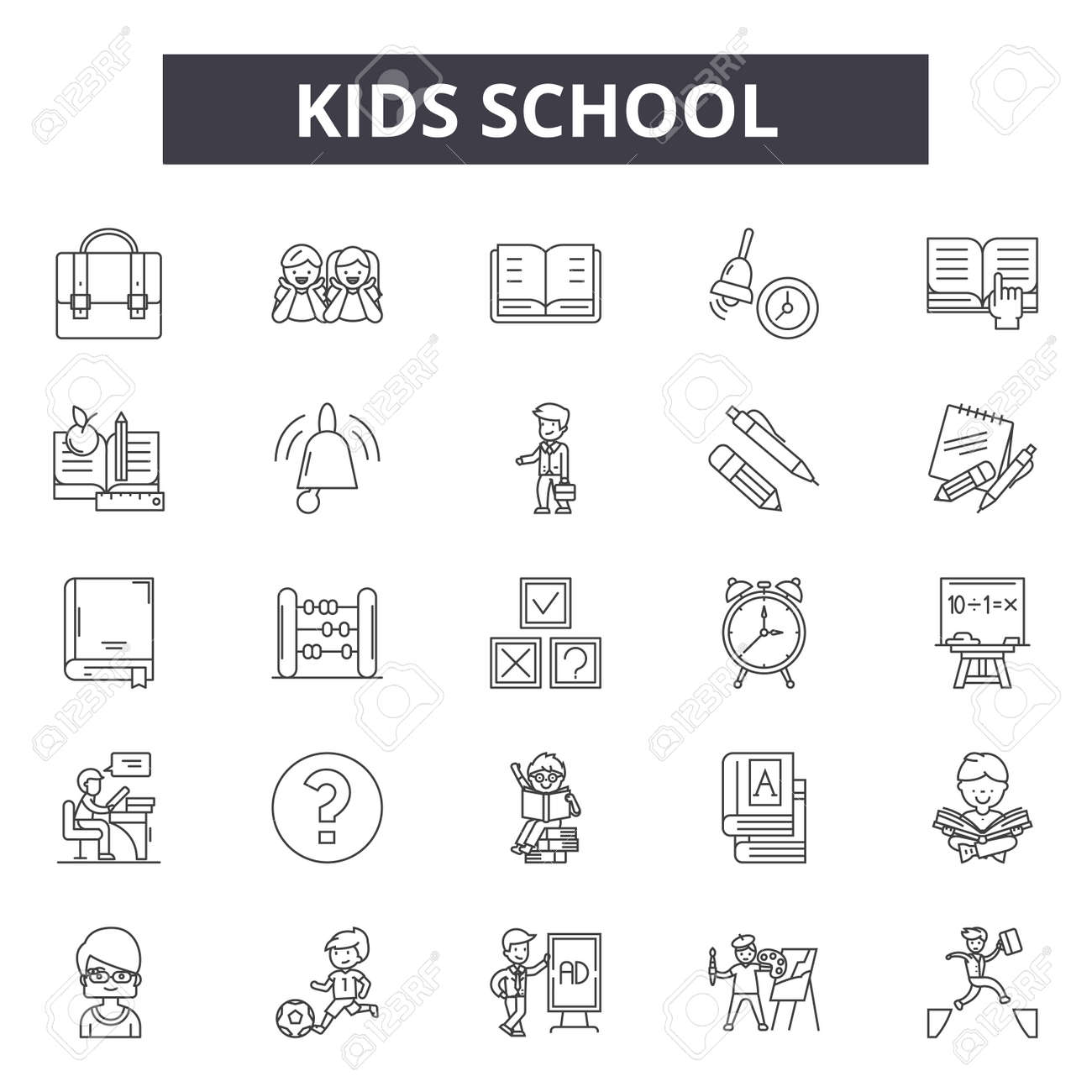 Kids school line icons, signs set, vector. Kids school outline concept illustration: school,education,book,kid,bus - 123582108