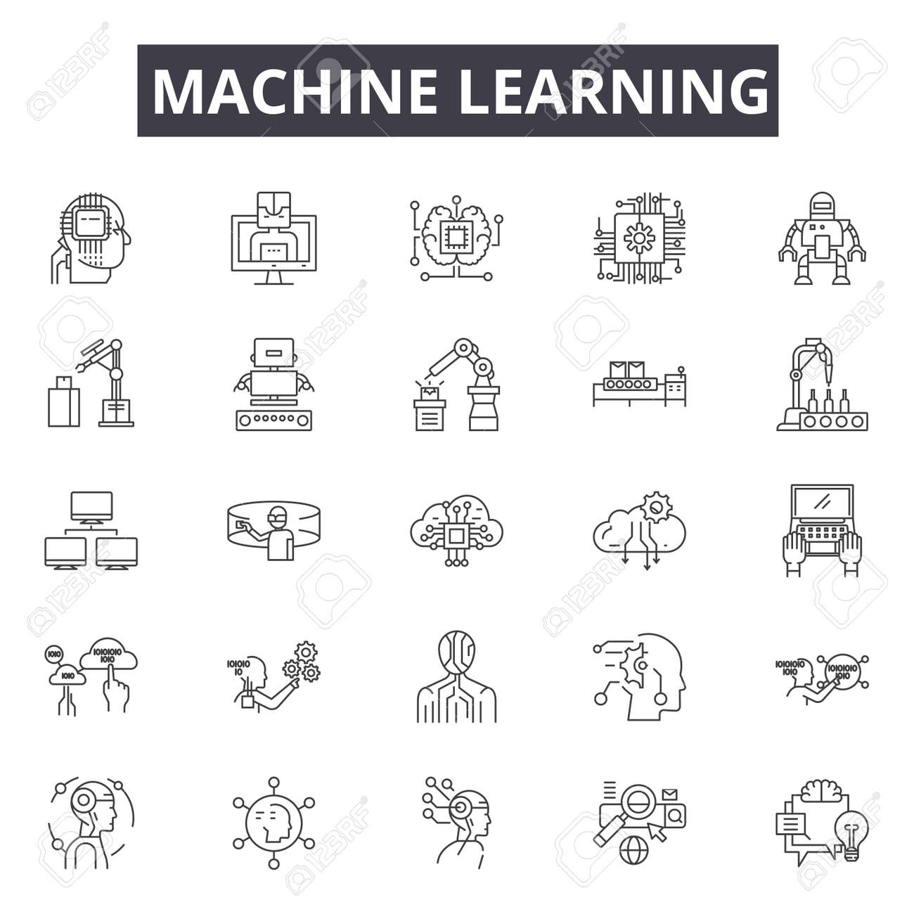 Machine learning system line icons, signs set, vector. Machine learning system outline concept illustration: system,data,technology,machine,intelligence,learning,science,information,business - 120896876