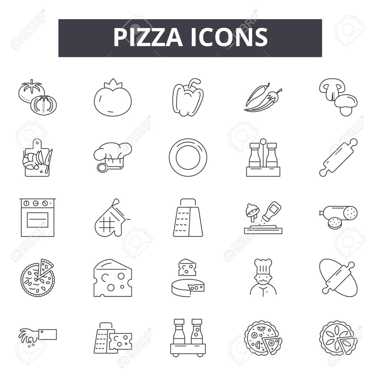 Pizza line icons, signs set, vector. Pizza outline concept illustration: cheese,food,pizza,slice,lunch,dinner,restaurant,fast - 122526222