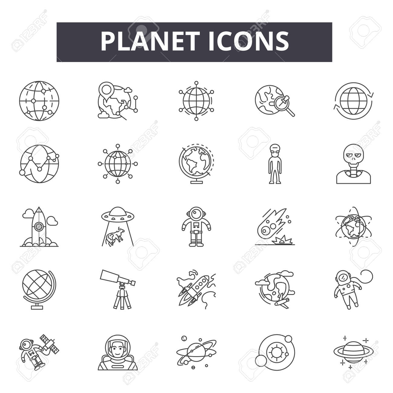 Planet line icons, signs set, vector. Planet outline concept illustration: planet,earth,isolated,globe,space - 122526223