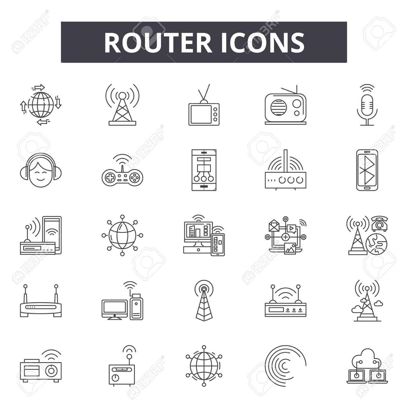 Router line icons, signs set, vector. Router outline concept illustration: router,internet,wireless,technology,web,network,communication - 121124822