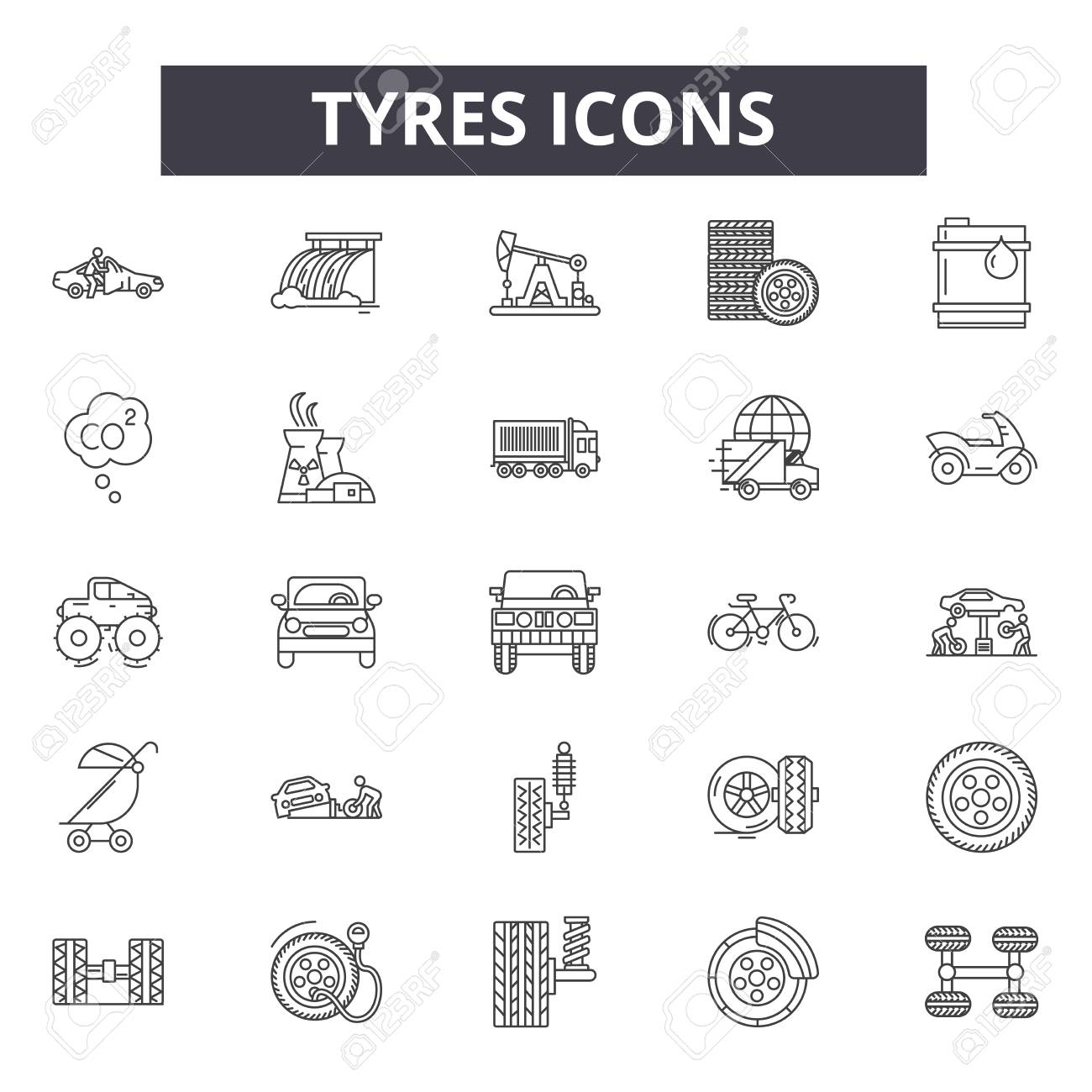 Tyres line icons, signs set, vector. Tyres outline concept illustration: tire,black,tyre,car,wheel,auto,isolated - 121125306