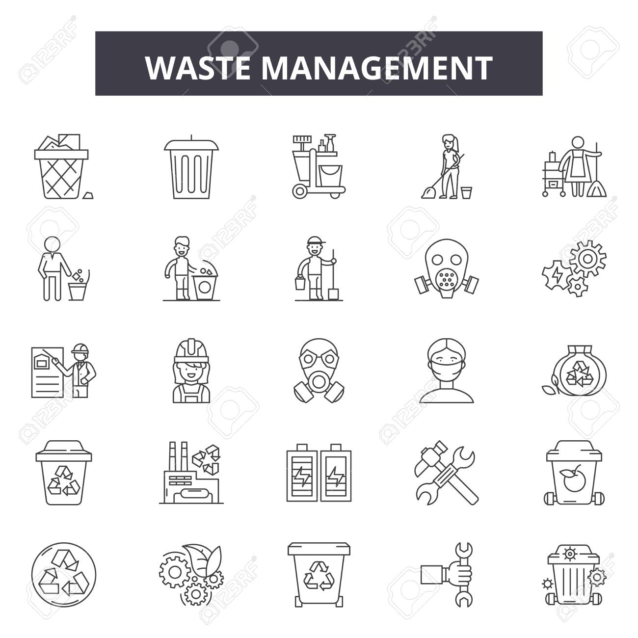 Waste management line icons, signs set, vector. Waste management outline concept illustration: waste,recycle,ecology,recycling,green,plastic,paper - 123516506