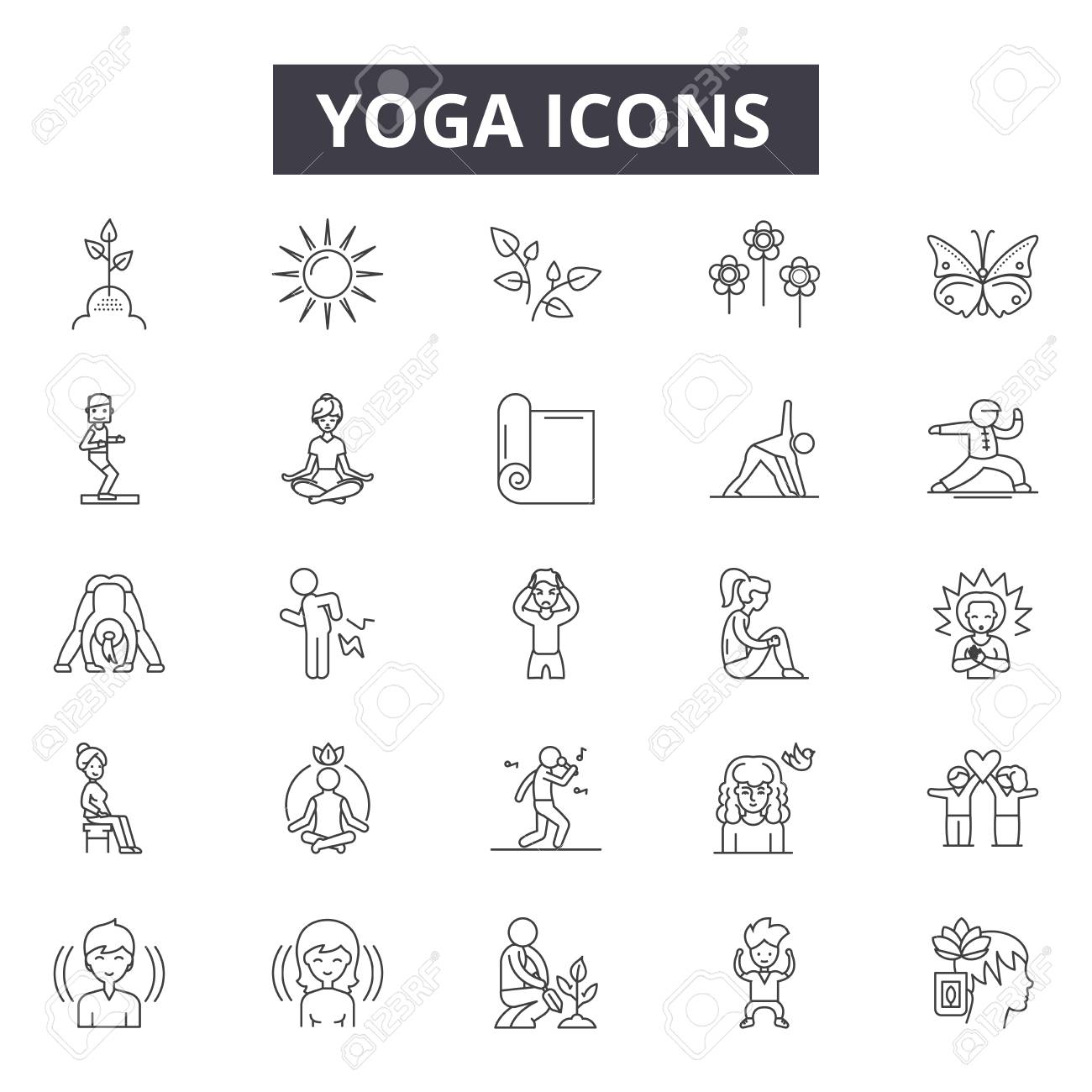 Yoga line icons, signs set, vector. Yoga outline concept illustration: yoga,body,exercise,health,relaxation,fitness,lifestyle,sport,meditation - 122526539