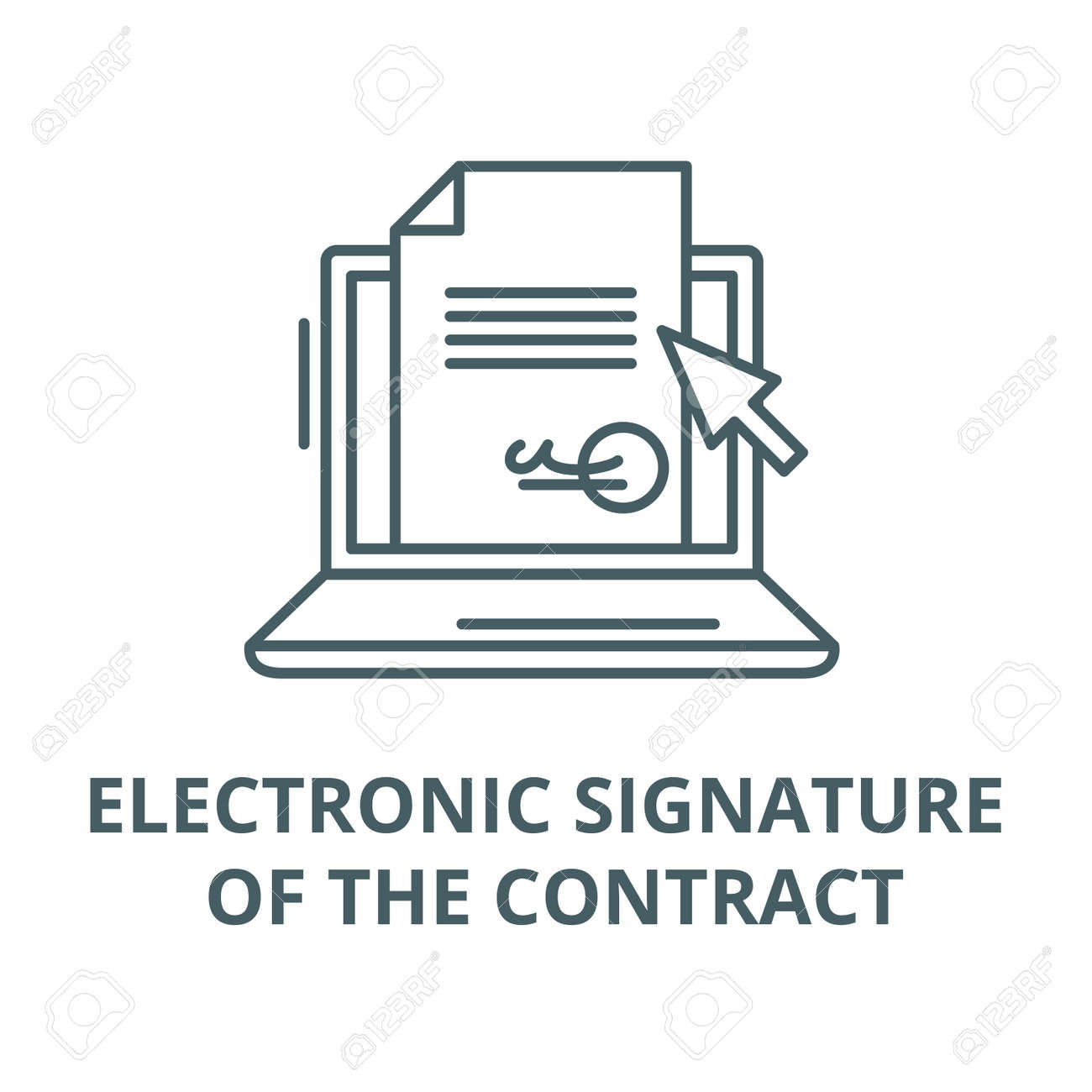 Electronic signature of the contract vector line icon, outline concept, linear sign - 122419128