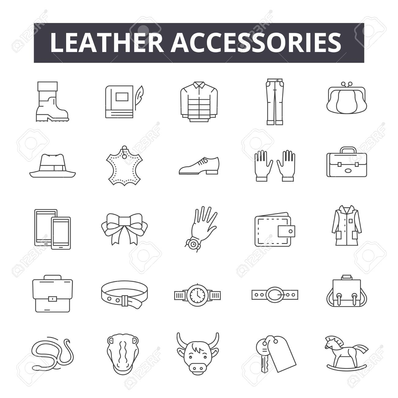 Leather accessories line icons, signs, vector set, outline concept, linear illustration - 122419265