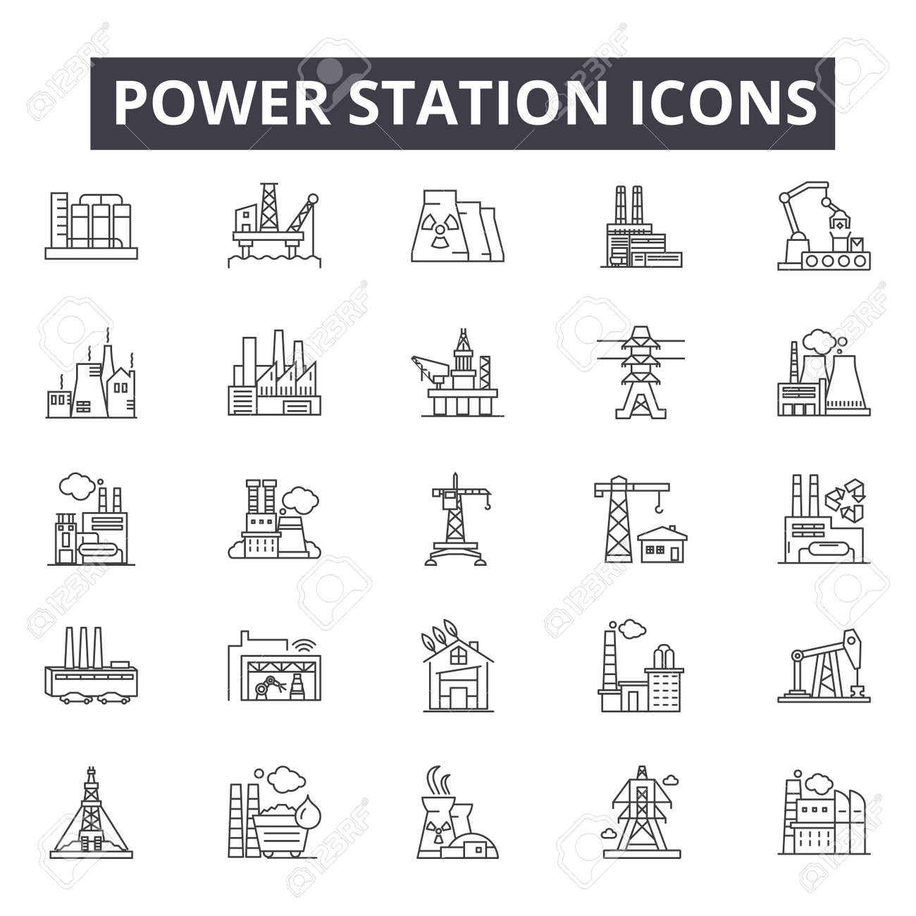 Power station line icons, signs, vector set, outline concept, linear illustration - 122419405
