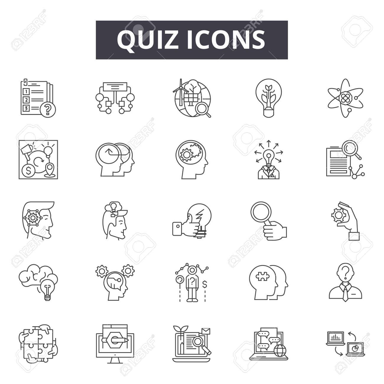 Quiz line icons, signs, vector set, outline concept, linear illustration - 122419487