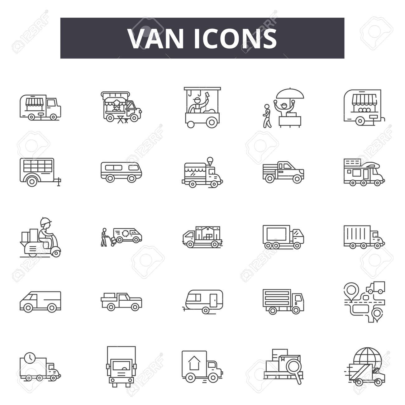 Van line icons, signs, vector set, outline concept, linear illustration - 122419628