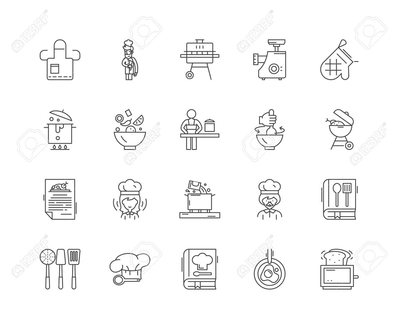 Cookery concept line icons, linear signs, vector set, outline concept illustration - 122420962