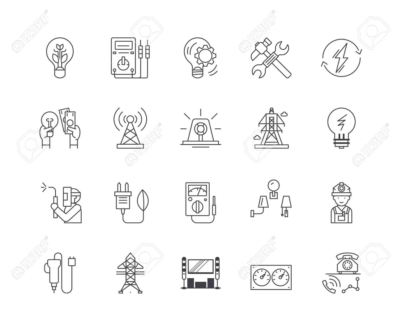 Electric services line icons, linear signs, vector set, outline concept illustration - 122419375