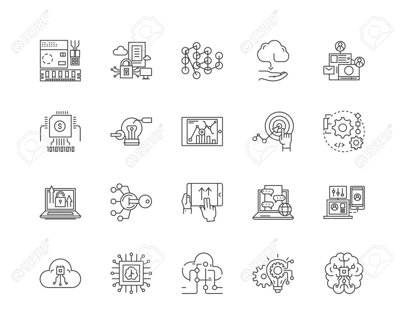 Hitech business line icons, linear signs, vector set, outline concept illustration - 122338598