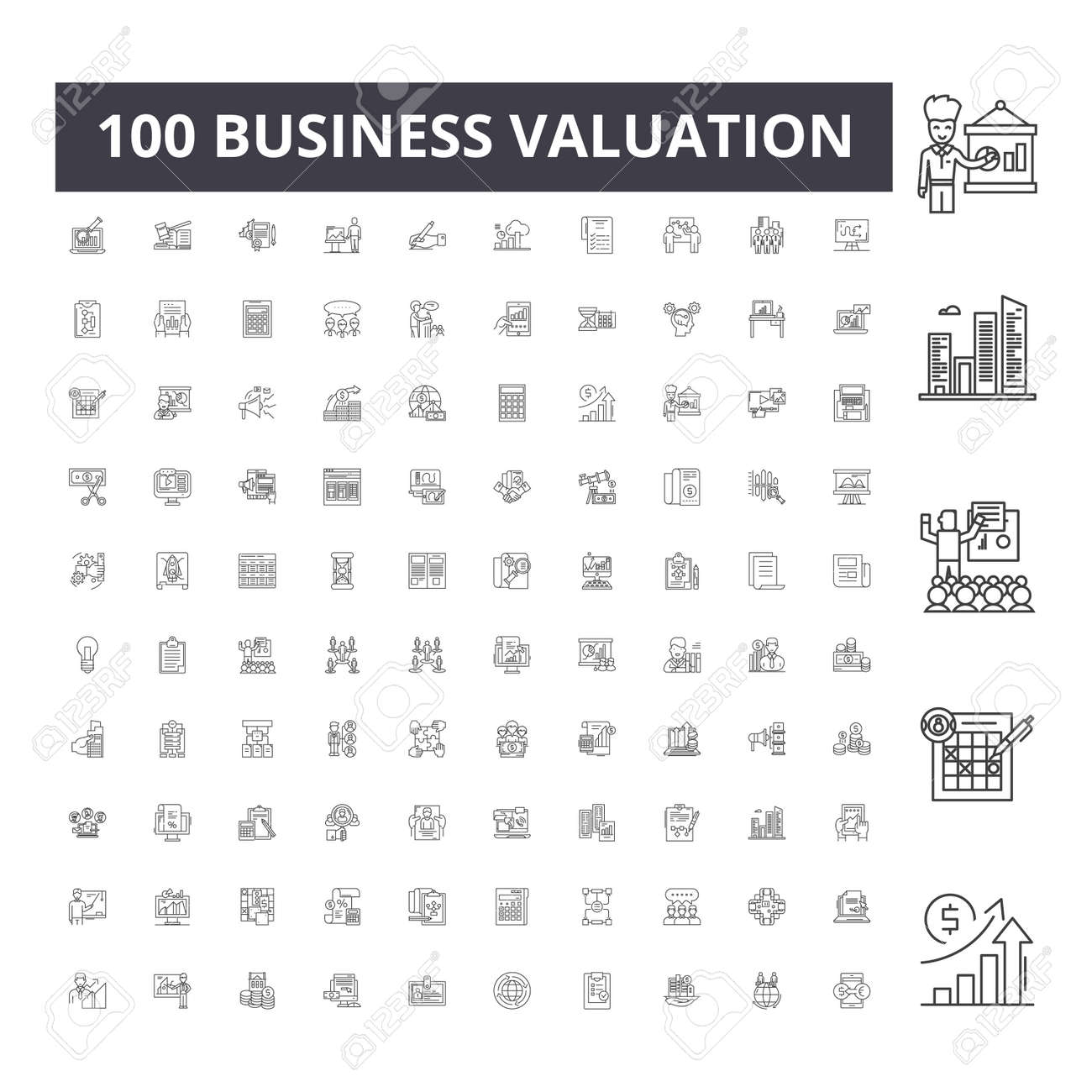 Business valuation line icons, signs, vector set, outline concept illustration - 123309242