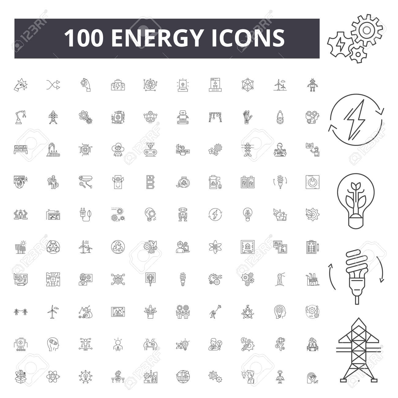 Energy line icons, signs, vector set, outline concept illustration - 123721766