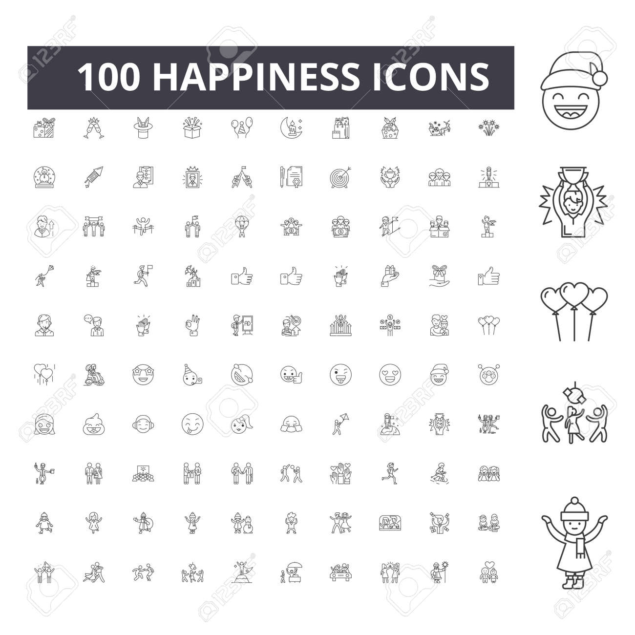 Happiness line icons, signs, vector set, outline concept illustration - 123721898
