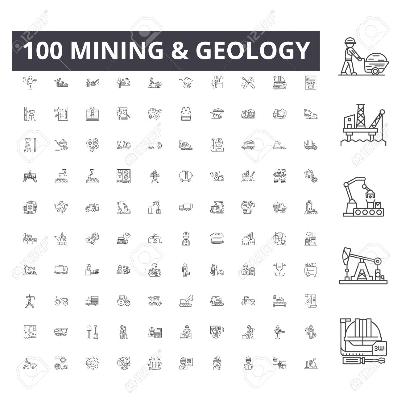 Mining line icons, signs, vector set, outline concept illustration - 123721978