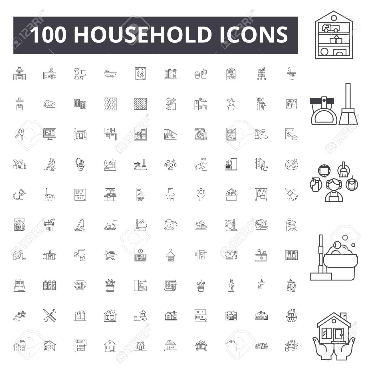 Household line icons, signs, vector set, outline concept illustration - 123722673