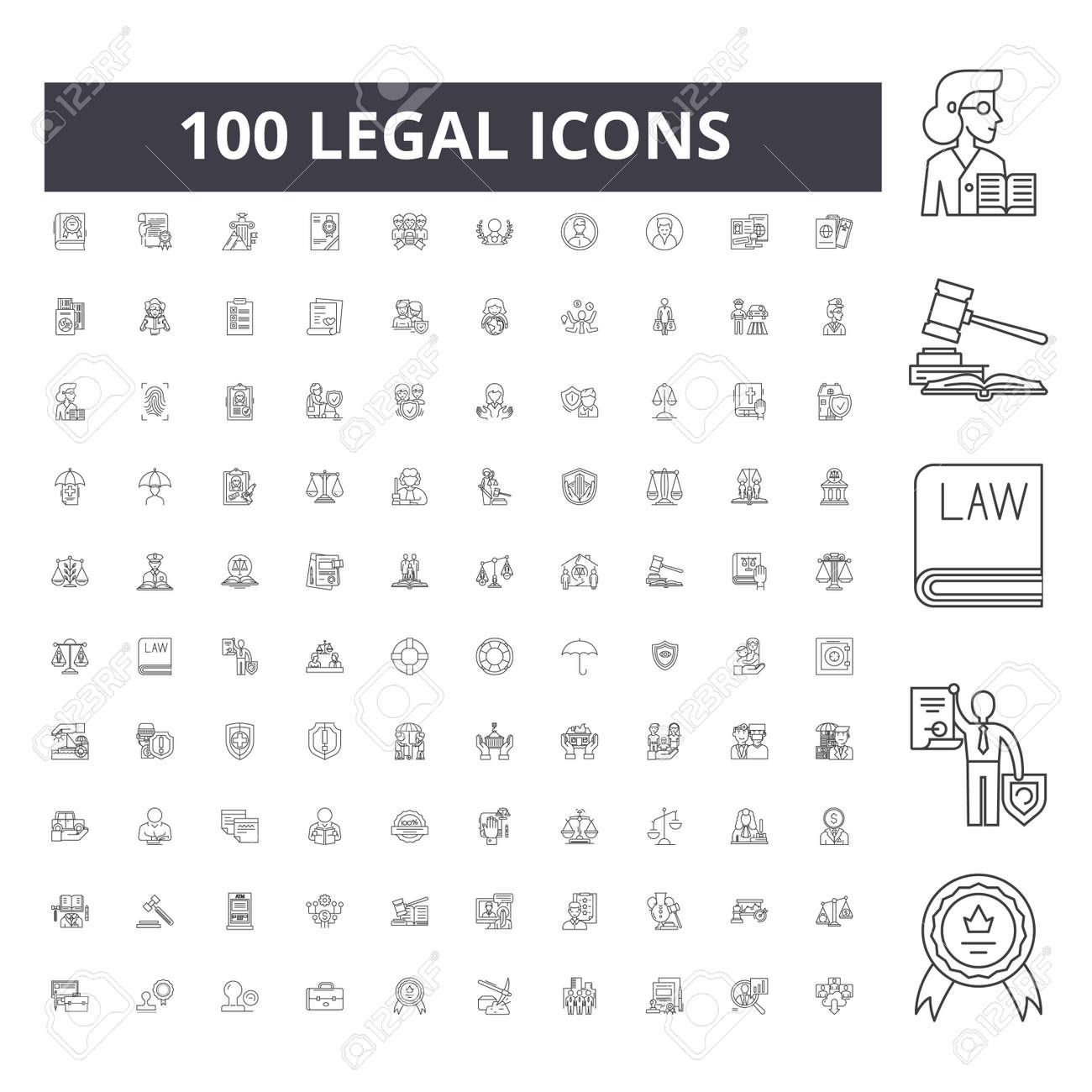 Legal line icons, signs, vector set, outline concept illustration - 123722988