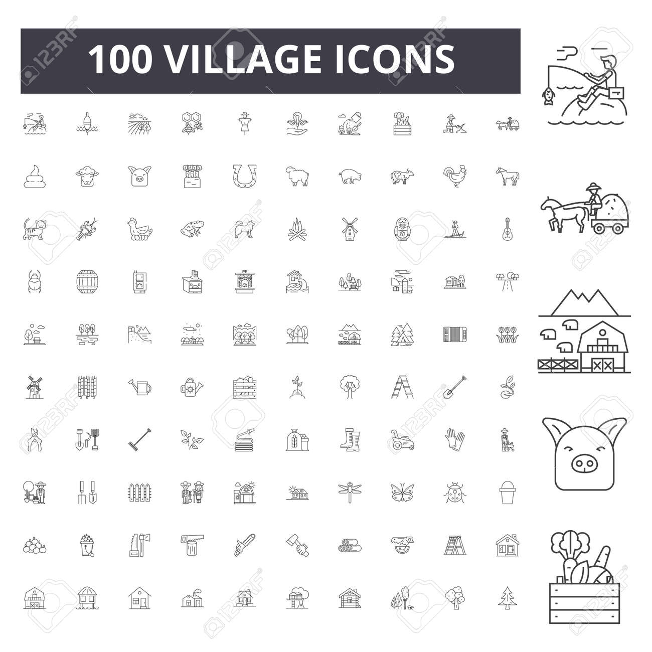 Village line icons, signs, vector set, outline concept illustration - 123722993