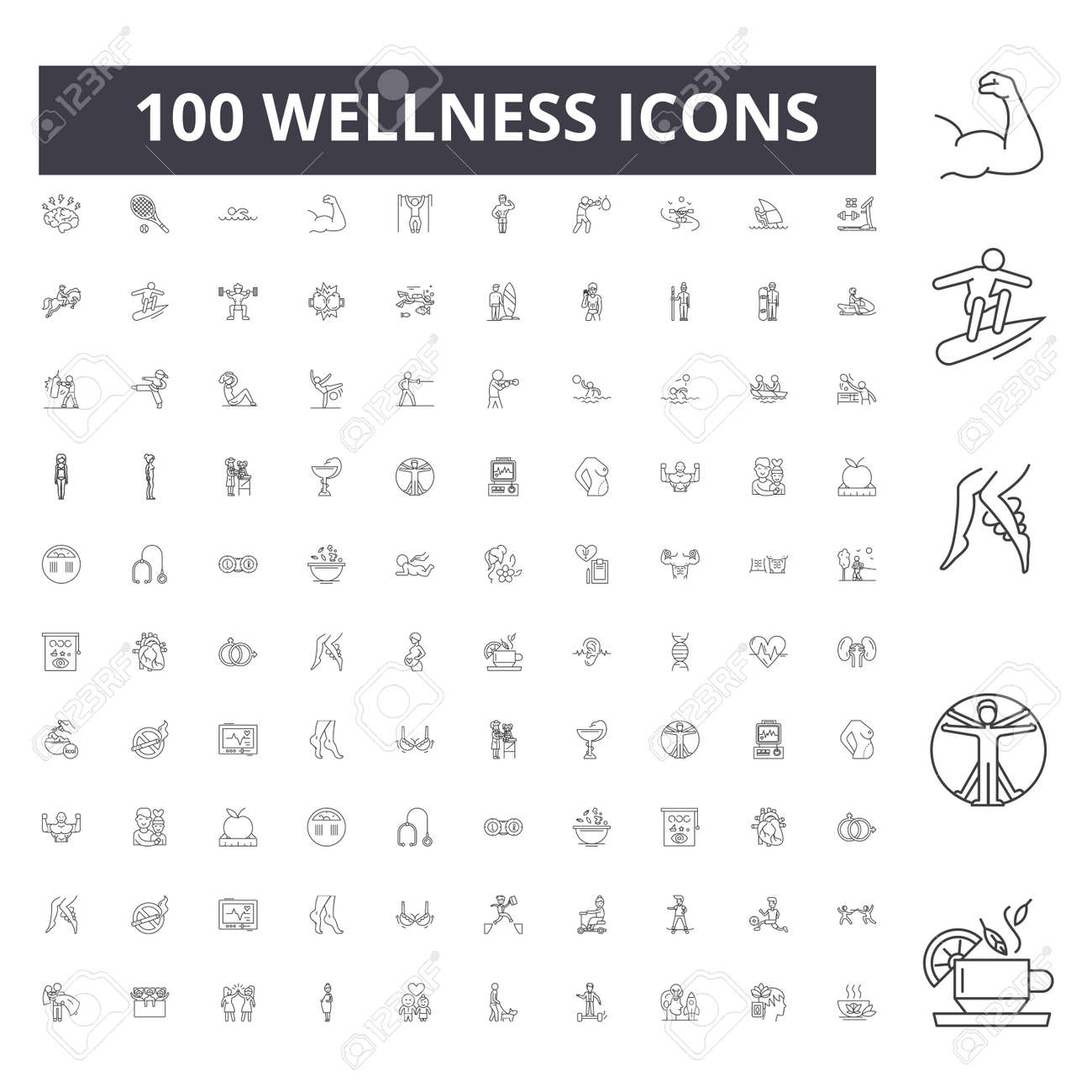 Wellness line icons, signs, vector set, outline concept illustration - 123723304