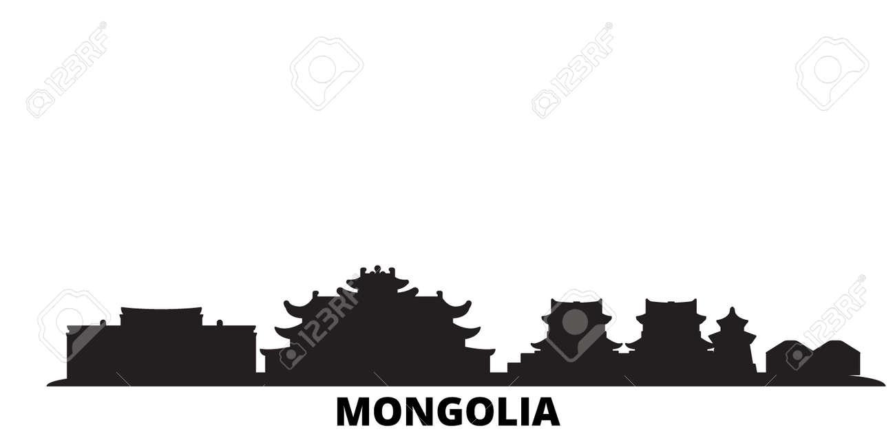 Mongolia city skyline isolated vector illustration. Mongolia travel cityscape with landmarks - 134558809
