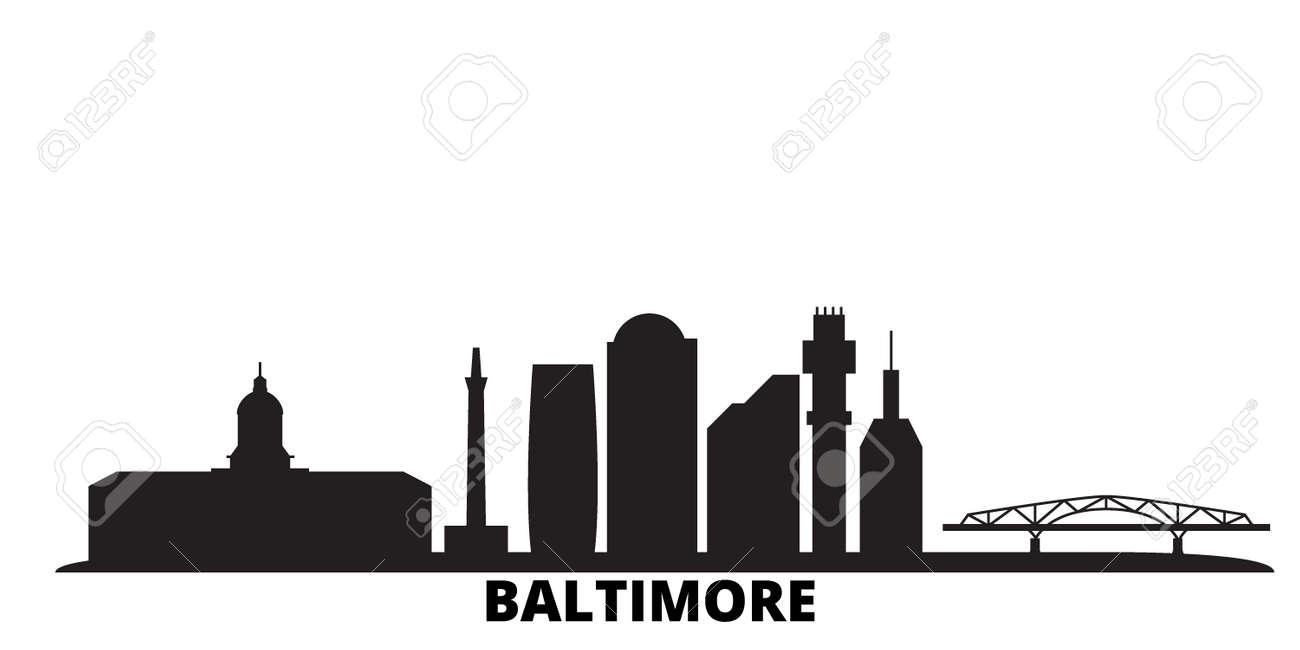 United States, Baltimore city skyline isolated vector illustration. United States, Baltimore travel cityscape with landmarks - 134678826