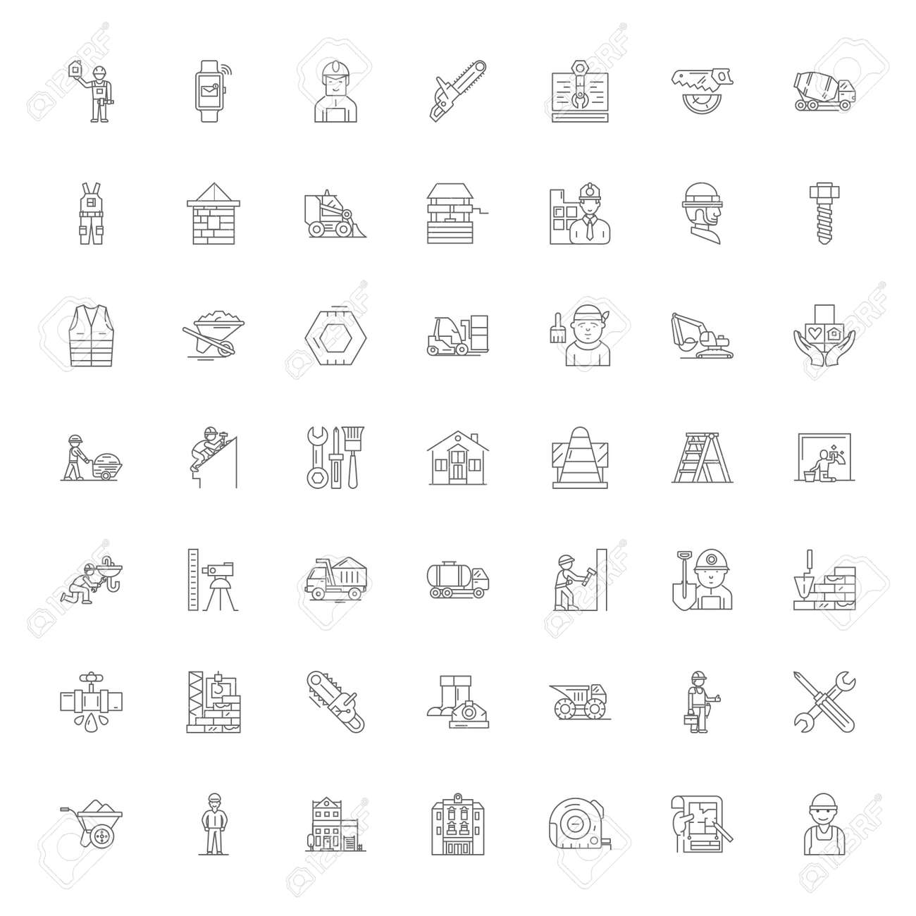 Contractor line icons, signs, symbols vector, linear illustration set - 134820886
