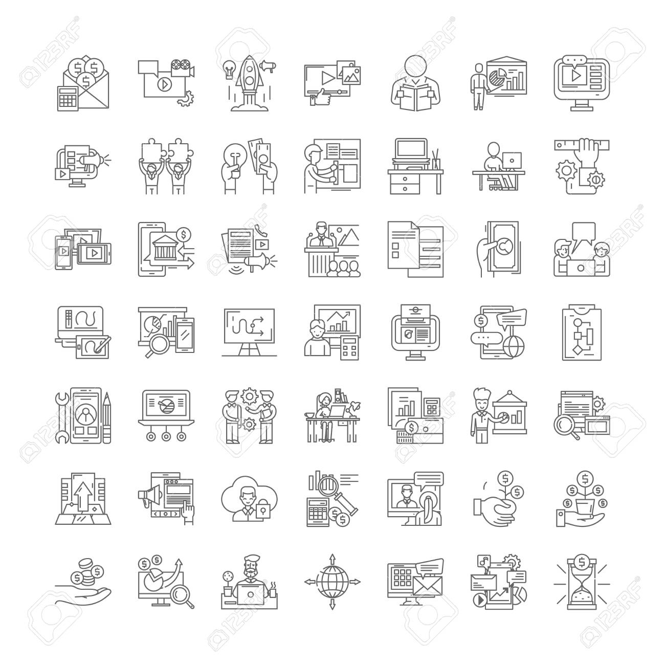 Learning business line icons, signs, symbols vector, linear illustration set - 134821004