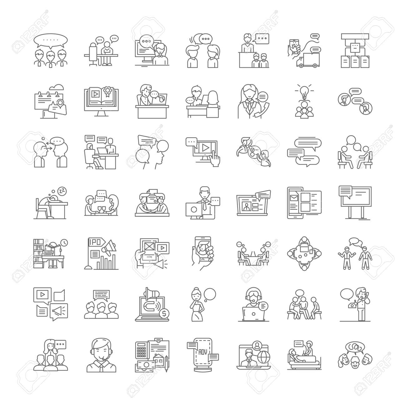 Lecture line icons, signs, symbols vector, linear illustration set - 134820707