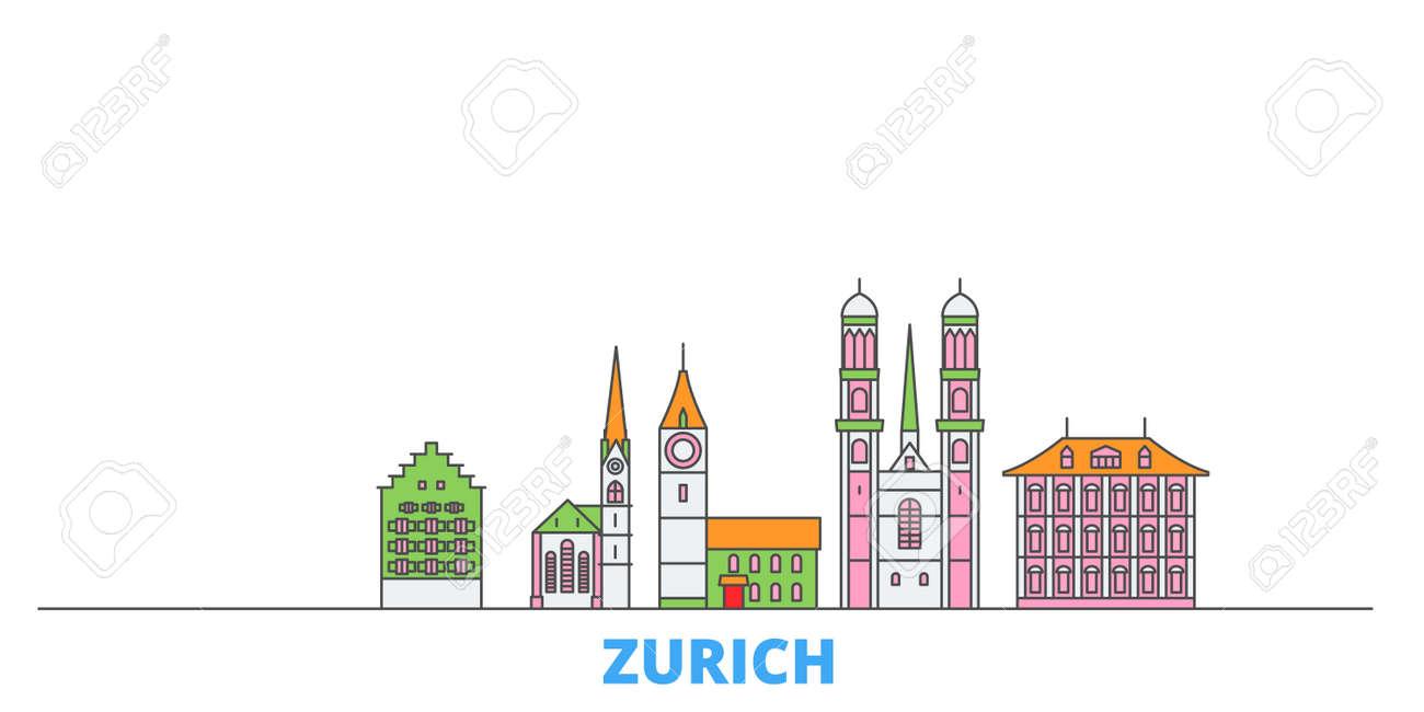 Switzerland, Zurich cityscape line vector. Travel flat city landmark, oultine illustration, line world icons - 159222824
