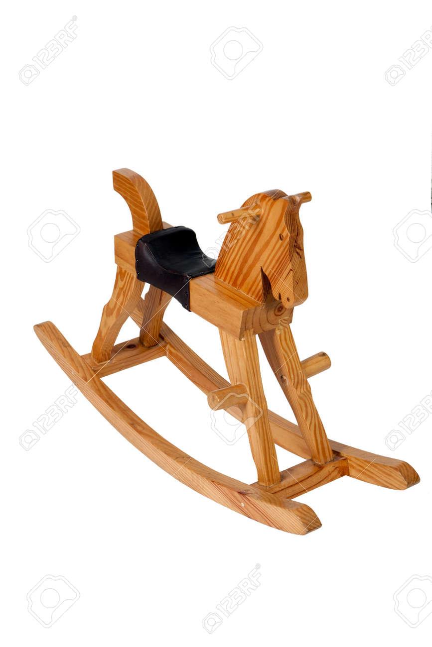 En bois des enfants cheval à bascule chaise isolée sur fond blanc
