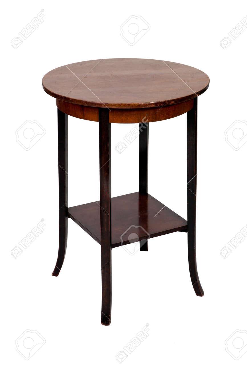 Antik Holz Runden Tisch Isoliert Auf Weißem Hintergrund Standard Bild    13044809