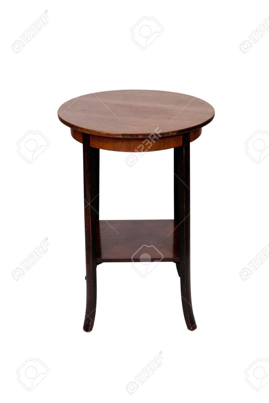 Antik Holz Runden Tisch Isoliert Auf Weißem Hintergrund Standard Bild    13044784