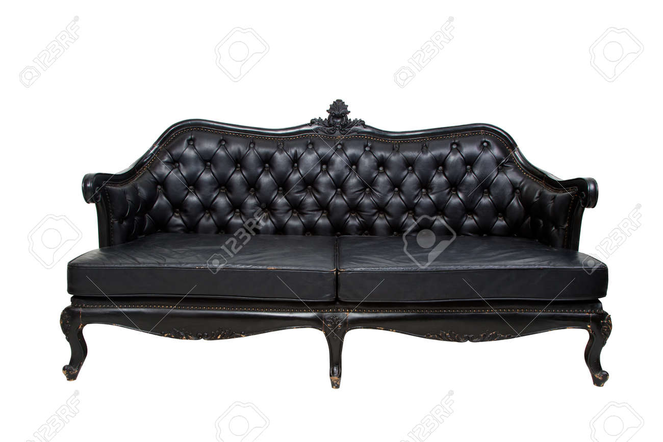 Luxury Black Leather Sofa On White Background Stock Photo Picture