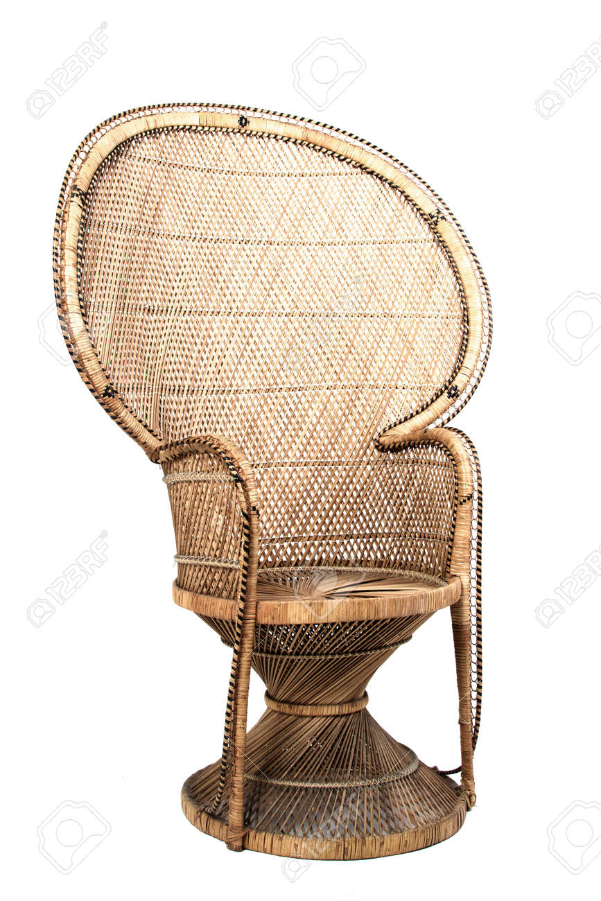 large brown ornate cane chair on white background stock photo