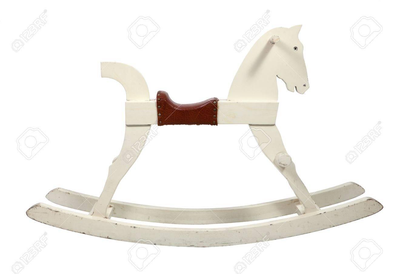 Stock Photo   White Wooden Rocking Horse Chair Children On White Background