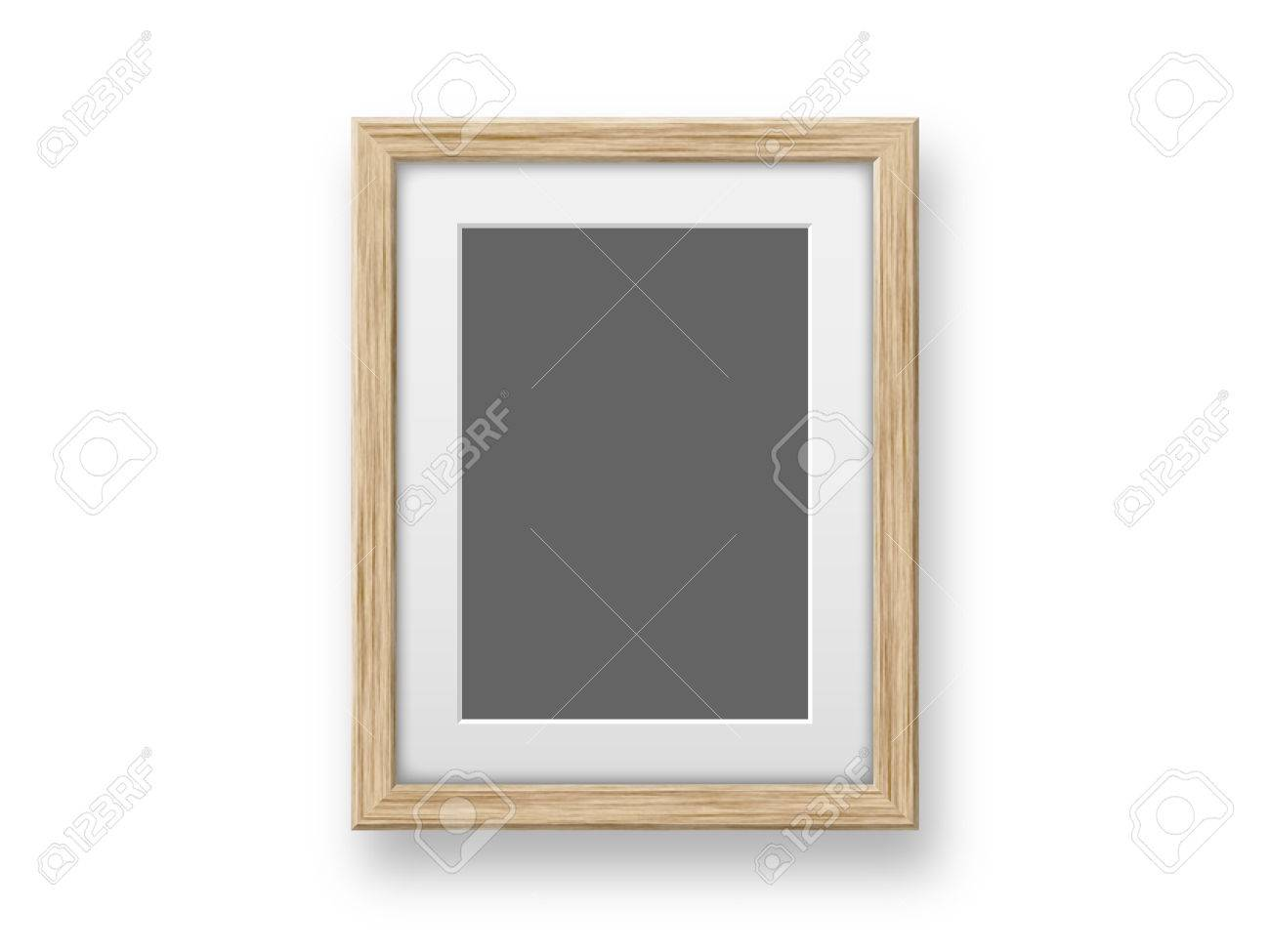Blank Wooden Frames Template On The Wall Stock Photo, Picture And ...