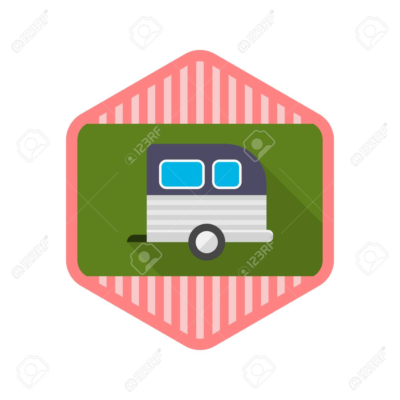 Motorhomes flat icon with long shadow on badge background,EPS 10 - 40612574