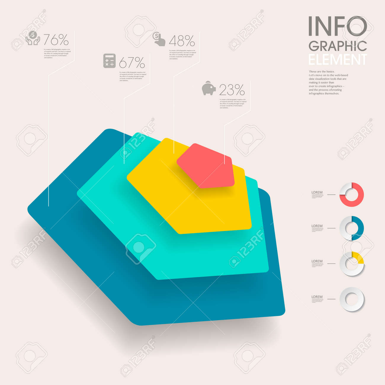 Modern Vector Abstract Pentagon Chart Infographic Elements.can ...