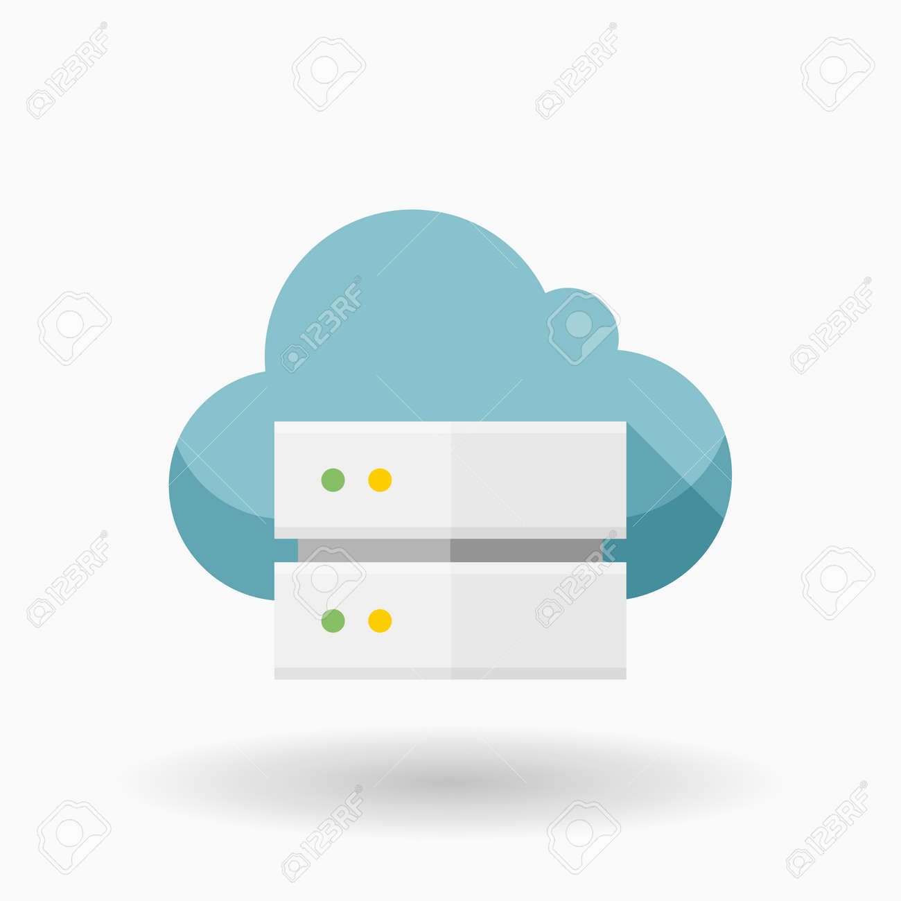 cloud server icon vector illustration flat design style with